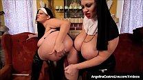 BBW Nuns Angelina Castro & Sam 38G Spank & Fuck Their Twats!