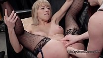 Blonde slave licks ass and anal fucks