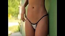 Hot Latina stripping in bikini