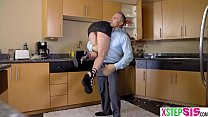 Nasty teen stepdaughter disciplined by her old stepdad