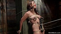 Gagged redhead slave bound to huge post