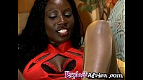 Big ass African footjobs and rides a white cock's Thumb