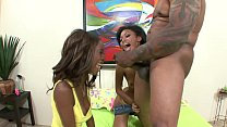Porn star Mr Marcus find two groupie fans to pound with his BBC