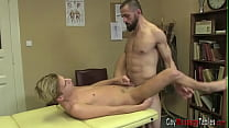 Gay twink rides masseurs cock