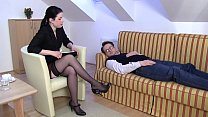 Femdom Ladies order slaves to smell their feet