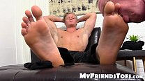 Cute blond and handsome Seamus gets his toes licked