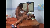 Black chick New Jersey  with red hair in classroom sucking and fucking teacher's black dong