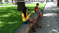 Busty chick in stockings masturbates in the street tumblr xxx video