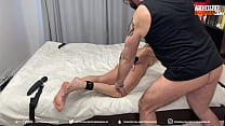 The husband punishes his wife for cheating, ties her to the bed and fucks her with vibrators and a member, ends up in the pussy