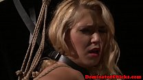 Tied slave punished roughly by maledom