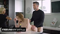 Cute Teen Stepdaughter Takes Her Stepmom's Duties And Gives Her Old Man A Perfect Freeuse Experience