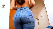Amazing Body Brunette Showing Perfect Ass Cameltoe and Boobs In Tight Blue Jeans