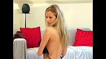 Blonde teases in lingerie and seamed stockings Preview