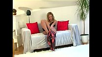 Blonde teases in lingerie and seamed stockings - rose monroe webcam thumbnail