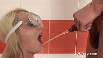 Blonde gets pee for blowjob in the shower