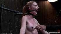 Bound babe locked down atop of Sybian