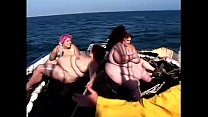Four dirty BBW lifeguards fuck each other on the deck with toys on the boat