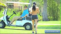 Sexy young cutie brunette amateur Mya gets fully naked and run on the golf course in public