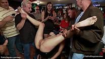 Bound busty slut anal fucked in public