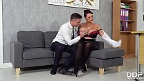 Busty boss Harmony Reigns wants that big ass cock inside her shaved pussy