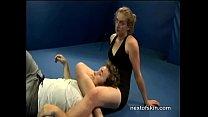 Hairy Girl Wrestles Guy