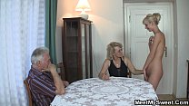 Old dad and mom teaching teen 3some pornhub video