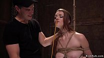 Master with mask bangs tied up slave