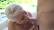 9615 Fat grandma's tits covered with jizz preview