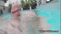 Sexy couple fucks in pool on video Thumbnail