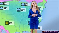 Busty weather chick gets fucked live on a TV st... Thumbnail