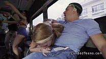 Blonde teen fucks huge dick in party bus Image