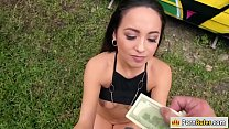 Slut babe rides strangers dick for cash