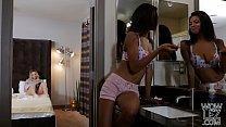 Interracial lesbian roommates having sex - Aubrey Sinclair and Nia Nacci - 69VClub.Com