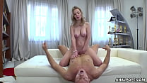 Natural busty MILF does rimjob and rides Rocco's dick