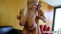 Blonde MILF slaps his Cock around