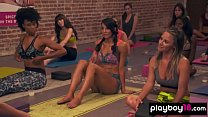 Amateur cougars join to a topless aerobic training