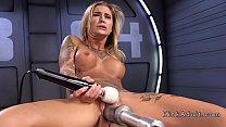 Stunning blonde gets orgasm on fucking machine