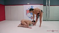 Novice wrestler Marcello tries his luck against powerful muscle goddess Brandi Mae