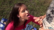 Outdoor wild fuck with brunette slut
