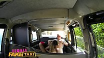 Female Fake Taxi Tattooed hunk blows his big load into sexy drivers mouth Image
