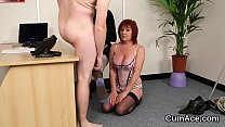 Nasty beauty gets cumshot on her face gulping all the cream