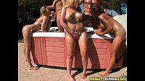 Alexis Texas, Rachel Solari and Cj share a pair of cocks in the jacuzzi!