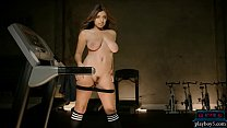 Curvy latina teen workout and striptease in the gym thumbnail