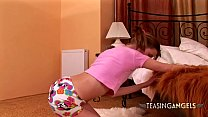 Stunning teen with ponytails enjoys stripping a...