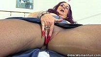 English granny Zadi loves going knickerless under her skirt