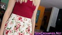 Skinny blonde teen gets cum creampied