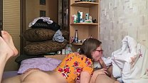 Hot blowjob from a nerdy