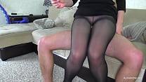 Teen Teacher Pantyhose Tease and Handjob - Huge Cum on Pussy