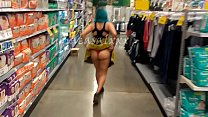 cuckold wife showing off her ass in thong inside the crowded supermarket