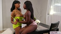 Black lesbian teen caressing her stepsis